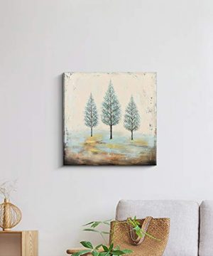 PiGort Oil Painting Wall Art Dusk Trees Art Hand Painted Landscape Scenery Paintings On Canvas Modern Home Decor Artwork Gallery Wrap 28x28 InchC 0 0 300x360