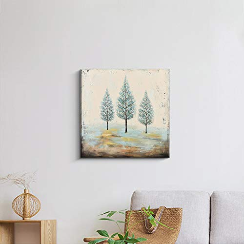 PiGort Oil Painting Wall Art Dusk Trees Art Hand Painted Landscape Scenery Paintings On Canvas Modern Home Decor Artwork Gallery Wrap 28x28 InchC 0 0