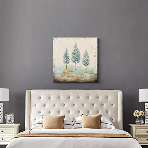 PiGort Oil Painting Wall Art Dusk Trees Art Hand Painted Landscape Scenery Paintings On Canvas Modern Home Decor Artwork Gallery Wrap 28x28 InchC 0 1