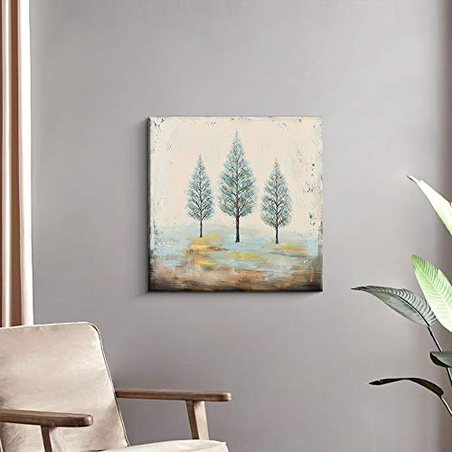 PiGort Oil Painting Wall Art Dusk Trees Art Hand Painted Landscape Scenery Paintings On Canvas Modern Home Decor Artwork Gallery Wrap 28x28 InchC 0 2