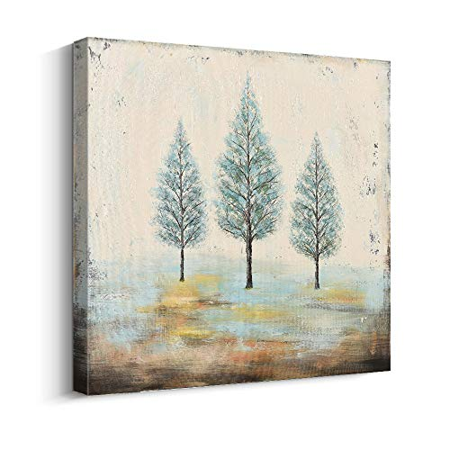 PiGort Oil Painting Wall Art Dusk Trees Art Hand Painted Landscape Scenery Paintings On Canvas Modern Home Decor Artwork Gallery Wrap 28x28 InchC 0