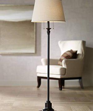 Spenser Traditional Floor Lamp Oiled Bronze Linen Fabric Drum Shade For Living Room Reading Bedroom Office 360 Lighting 0 300x360