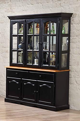 Sunset Trading Black Cherry Selections Buffet And Hutch Three Door Two Drawer Distressed Antique 0 0