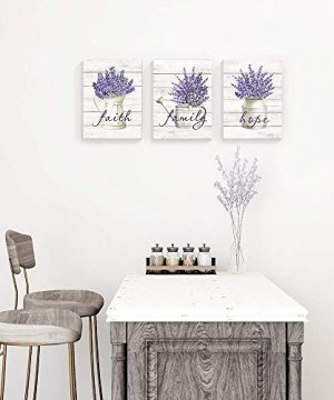 Takfot Inspirational Wall Art Farmhouse Floral Pictures Canvas Home Decor Framed Purple Flower Artwork Faith Family Hope Quotes For Bathroom Bedroom Living Room Kitchen 12x16 Inch 3 Panels 0 0 300x360