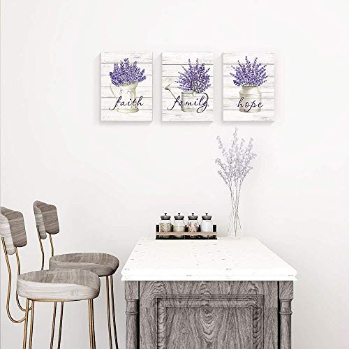 Takfot Inspirational Wall Art Farmhouse Floral Pictures Canvas Home Decor Framed Purple Flower Artwork Faith Family Hope Quotes For Bathroom Bedroom Living Room Kitchen 12x16 Inch 3 Panels 0 0