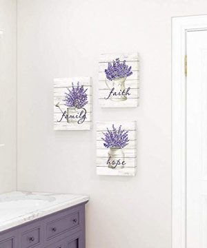 Takfot Inspirational Wall Art Farmhouse Floral Pictures Canvas Home Decor Framed Purple Flower Artwork Faith Family Hope Quotes For Bathroom Bedroom Living Room Kitchen 12x16 Inch 3 Panels 0 1 300x360