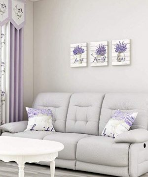 Takfot Inspirational Wall Art Farmhouse Floral Pictures Canvas Home Decor Framed Purple Flower Artwork Faith Family Hope Quotes For Bathroom Bedroom Living Room Kitchen 12x16 Inch 3 Panels 0 3 300x360