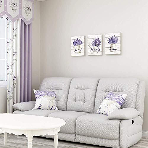 Takfot Inspirational Wall Art Farmhouse Floral Pictures Canvas Home Decor Framed Purple Flower Artwork Faith Family Hope Quotes For Bathroom Bedroom Living Room Kitchen 12x16 Inch 3 Panels 0 3