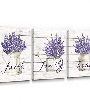 Takfot Inspirational Wall Art Farmhouse Floral Pictures Canvas Home Decor Framed Purple Flower Artwork Faith Family Hope Quotes For Bathroom Bedroom Living Room Kitchen 12x16 Inch 3 Panels 0 300x360