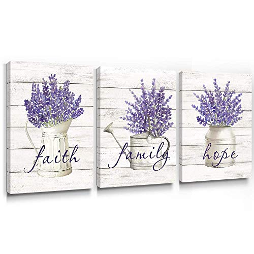 Takfot Inspirational Wall Art Farmhouse Floral Pictures Canvas Home Decor Framed Purple Flower Artwork Faith Family Hope Quotes For Bathroom Bedroom Living Room Kitchen 12x16 Inch 3 Panels 0