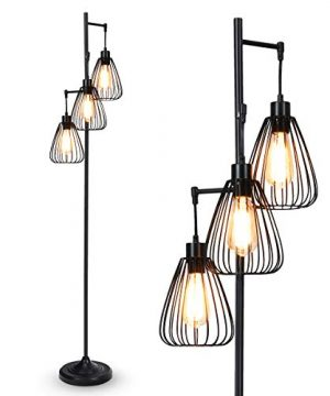 Tangkula 3 Lights Industrial Floor Lamp Rustic 3 Head Tall Lamp 67Inch Metal Standing Lamp Tree Lamp With 3 Hanging Lampshade Cage Floor Lighting For Farmhouse Living Room Kitchen Bedroom Black 0 0 300x360