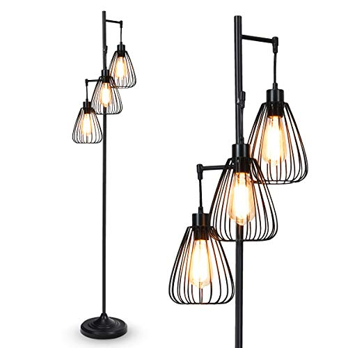 Tangkula 3 Lights Industrial Floor Lamp Rustic 3 Head Tall Lamp 67Inch Metal Standing Lamp Tree Lamp With 3 Hanging Lampshade Cage Floor Lighting For Farmhouse Living Room Kitchen Bedroom Black 0 0