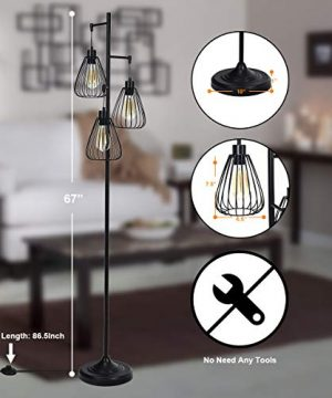 Tangkula 3 Lights Industrial Floor Lamp Rustic 3 Head Tall Lamp 67Inch Metal Standing Lamp Tree Lamp With 3 Hanging Lampshade Cage Floor Lighting For Farmhouse Living Room Kitchen Bedroom Black 0 1 300x360