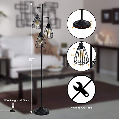 Tangkula 3 Lights Industrial Floor Lamp Rustic 3 Head Tall Lamp 67Inch Metal Standing Lamp Tree Lamp With 3 Hanging Lampshade Cage Floor Lighting For Farmhouse Living Room Kitchen Bedroom Black 0 1