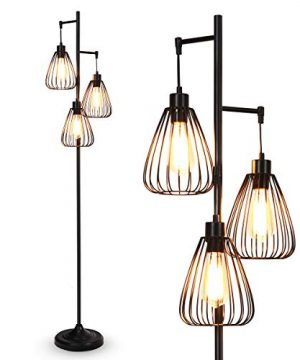 Tangkula 3 Lights Industrial Floor Lamp Rustic 3 Head Tall Lamp 67Inch Metal Standing Lamp Tree Lamp With 3 Hanging Lampshade Cage Floor Lighting For Farmhouse Living Room Kitchen Bedroom Black 0 300x360