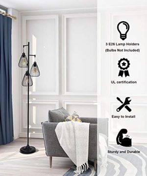 Tangkula 3 Lights Industrial Floor Lamp Rustic 3 Head Tall Lamp 67Inch Metal Standing Lamp Tree Lamp With 3 Hanging Lampshade Cage Floor Lighting For Farmhouse Living Room Kitchen Bedroom Black 0 4 300x360