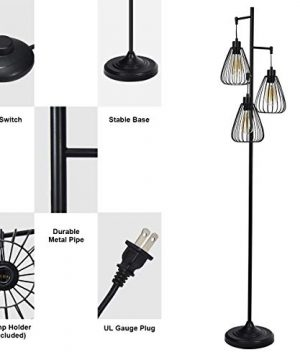 Tangkula 3 Lights Industrial Floor Lamp Rustic 3 Head Tall Lamp 67Inch Metal Standing Lamp Tree Lamp With 3 Hanging Lampshade Cage Floor Lighting For Farmhouse Living Room Kitchen Bedroom Black 0 5 300x360