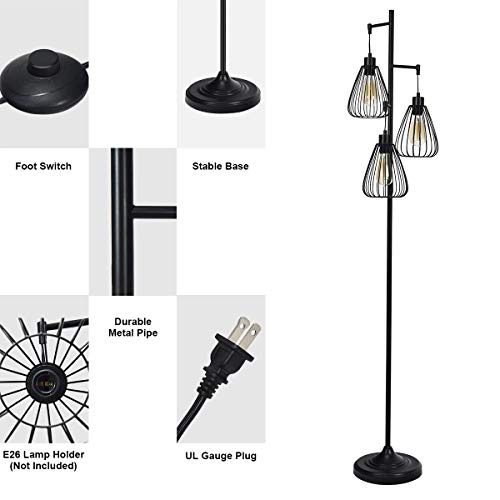 Tangkula 3 Lights Industrial Floor Lamp Rustic 3 Head Tall Lamp 67Inch Metal Standing Lamp Tree Lamp With 3 Hanging Lampshade Cage Floor Lighting For Farmhouse Living Room Kitchen Bedroom Black 0 5
