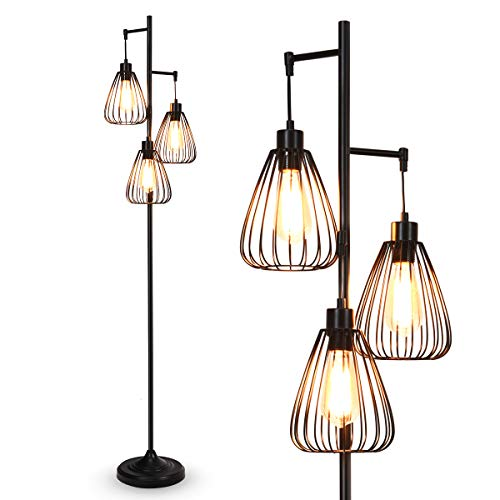 Tangkula 3 Lights Industrial Floor Lamp Rustic 3 Head Tall Lamp 67Inch Metal Standing Lamp Tree Lamp With 3 Hanging Lampshade Cage Floor Lighting For Farmhouse Living Room Kitchen Bedroom Black 0