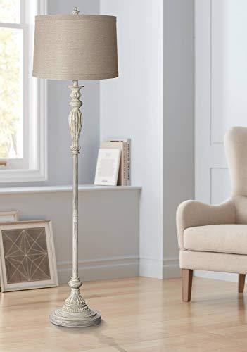 Vintage Shabby Chic Floor Lamp Antique White Natural Linen Fabric Drum Shade For Living Room Reading Bedroom Office 360 Lighting 0