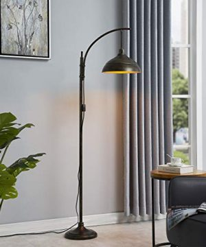 WOXXX Industrial Floor Lamp Modern Rustic Task Floor Lamp In Aged Bronze Finish Standing Lamp Farmhouse Arc Floor Lamps For Living Room Bedrooms Office Vintage Arched Bright Tall Reading Lamp 0 1 300x360