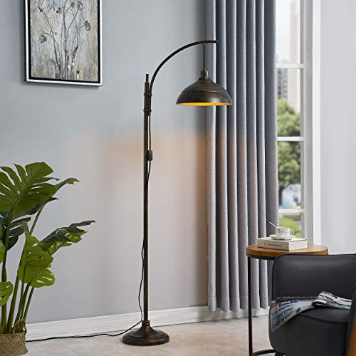WOXXX Industrial Floor Lamp Modern Rustic Task Floor Lamp In Aged Bronze Finish Standing Lamp Farmhouse Arc Floor Lamps For Living Room Bedrooms Office Vintage Arched Bright Tall Reading Lamp 0 1