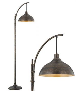 WOXXX Industrial Floor Lamp Modern Rustic Task Floor Lamp In Aged Bronze Finish Standing Lamp Farmhouse Arc Floor Lamps For Living Room Bedrooms Office Vintage Arched Bright Tall Reading Lamp 0 300x360