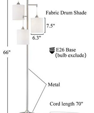 WOXXX Industrial Floor Lamp With White Fabric Shade Rustic Farmhouse Standing Lamp Modern Tree Floor Lamps For Living Room Bedrooms Office Room Lamp Tall Lamps Corner Lamp ChromeBulbs Exclude 0 0 300x360