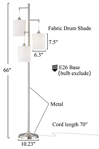 WOXXX Industrial Floor Lamp With White Fabric Shade Rustic Farmhouse Standing Lamp Modern Tree Floor Lamps For Living Room Bedrooms Office Room Lamp Tall Lamps Corner Lamp ChromeBulbs Exclude 0 0