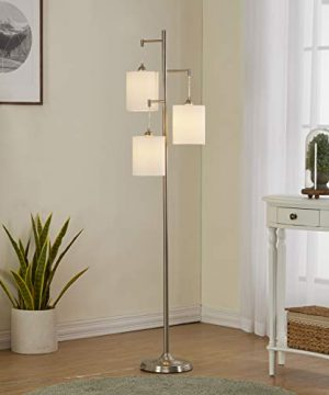 WOXXX Industrial Floor Lamp With White Fabric Shade Rustic Farmhouse Standing Lamp Modern Tree Floor Lamps For Living Room Bedrooms Office Room Lamp Tall Lamps Corner Lamp ChromeBulbs Exclude 0 1 300x360