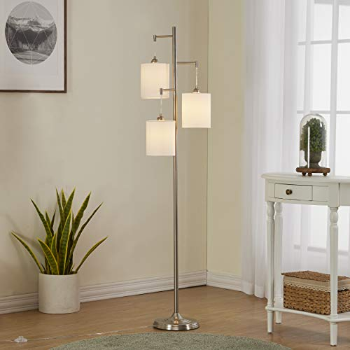 WOXXX Industrial Floor Lamp With White Fabric Shade Rustic Farmhouse Standing Lamp Modern Tree Floor Lamps For Living Room Bedrooms Office Room Lamp Tall Lamps Corner Lamp ChromeBulbs Exclude 0 1