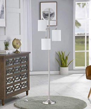WOXXX Industrial Floor Lamp With White Fabric Shade Rustic Farmhouse Standing Lamp Modern Tree Floor Lamps For Living Room Bedrooms Office Room Lamp Tall Lamps Corner Lamp ChromeBulbs Exclude 0 3 300x360
