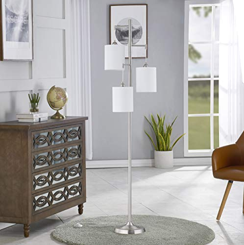 WOXXX Industrial Floor Lamp With White Fabric Shade Rustic Farmhouse Standing Lamp Modern Tree Floor Lamps For Living Room Bedrooms Office Room Lamp Tall Lamps Corner Lamp ChromeBulbs Exclude 0 3