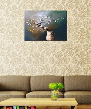 Wieco Art Plum Blossom Floral Oil Paintings Canvas Wall Art Modern Contemporary Abstract White Flowers Artwork Ornament Ready To Hang For Living Room Bedroom Kitchen Home Decorations Wall Decor 0 0 300x360