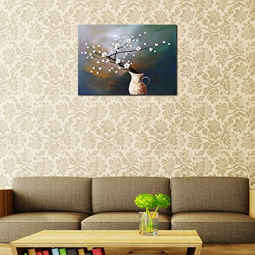 Wieco Art Plum Blossom Floral Oil Paintings Canvas Wall Art Modern Contemporary Abstract White Flowers Artwork Ornament Ready To Hang For Living Room Bedroom Kitchen Home Decorations Wall Decor 0 0