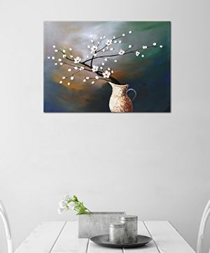 Wieco Art Plum Blossom Floral Oil Paintings Canvas Wall Art Modern Contemporary Abstract White Flowers Artwork Ornament Ready To Hang For Living Room Bedroom Kitchen Home Decorations Wall Decor 0 1 300x360