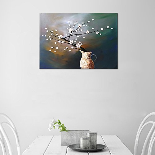 Wieco Art Plum Blossom Floral Oil Paintings Canvas Wall Art Modern Contemporary Abstract White Flowers Artwork Ornament Ready To Hang For Living Room Bedroom Kitchen Home Decorations Wall Decor 0 1