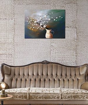 Wieco Art Plum Blossom Floral Oil Paintings Canvas Wall Art Modern Contemporary Abstract White Flowers Artwork Ornament Ready To Hang For Living Room Bedroom Kitchen Home Decorations Wall Decor 0 2 300x360