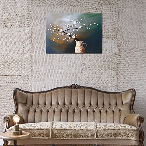 Wieco Art Plum Blossom Floral Oil Paintings Canvas Wall Art Modern Contemporary Abstract White Flowers Artwork Ornament Ready To Hang For Living Room Bedroom Kitchen Home Decorations Wall Decor 0 2