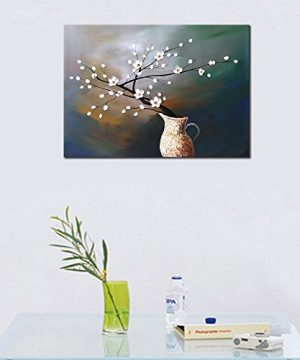 Wieco Art Plum Blossom Floral Oil Paintings Canvas Wall Art Modern Contemporary Abstract White Flowers Artwork Ornament Ready To Hang For Living Room Bedroom Kitchen Home Decorations Wall Decor 0 3 300x360