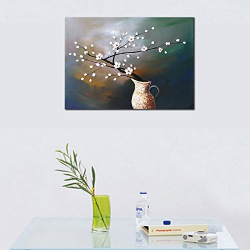 Wieco Art Plum Blossom Floral Oil Paintings Canvas Wall Art Modern Contemporary Abstract White Flowers Artwork Ornament Ready To Hang For Living Room Bedroom Kitchen Home Decorations Wall Decor 0 3