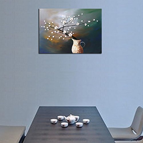 Wieco Art Plum Blossom Floral Oil Paintings Canvas Wall Art Modern Contemporary Abstract White Flowers Artwork Ornament Ready To Hang For Living Room Bedroom Kitchen Home Decorations Wall Decor 0 4