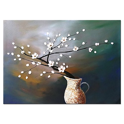 Wieco Art Plum Blossom Floral Oil Paintings Canvas Wall Art Modern Contemporary Abstract White Flowers Artwork Ornament Ready To Hang For Living Room Bedroom Kitchen Home Decorations Wall Decor 0