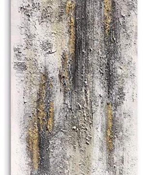 Yihui Arts Abstract Canvas Wall Art Pictures Thick Texture Grey With Gold Foil Paintings Hand Painted By Professional Artist For Dinning Room Decoration 0 0 300x360