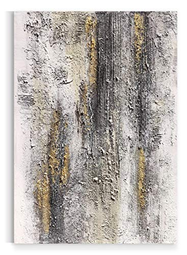 Yihui Arts Abstract Canvas Wall Art Pictures Thick Texture Grey With Gold Foil Paintings Hand Painted By Professional Artist For Dinning Room Decoration 0 0