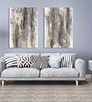Yihui Arts Abstract Canvas Wall Art Pictures Thick Texture Grey With Gold Foil Paintings Hand Painted By Professional Artist For Dinning Room Decoration 0 3 300x333