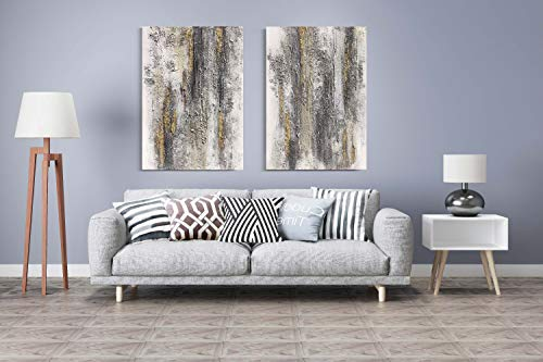 Yihui Arts Abstract Canvas Wall Art Pictures Thick Texture Grey With Gold Foil Paintings Hand Painted By Professional Artist For Dinning Room Decoration 0 3