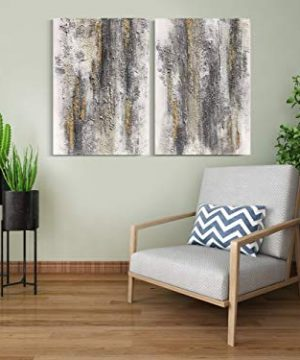 Yihui Arts Abstract Canvas Wall Art Pictures Thick Texture Grey With Gold Foil Paintings Hand Painted By Professional Artist For Dinning Room Decoration 0 4 300x360