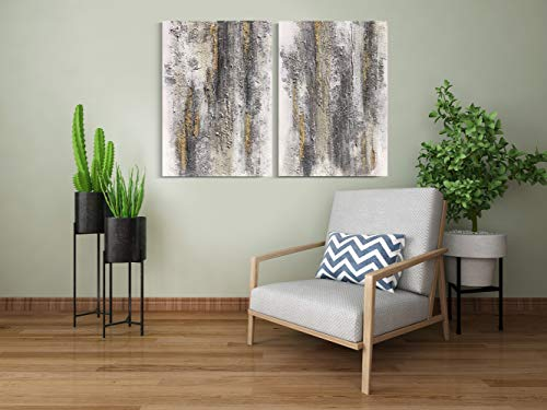 Yihui Arts Abstract Canvas Wall Art Pictures Thick Texture Grey With Gold Foil Paintings Hand Painted By Professional Artist For Dinning Room Decoration 0 4