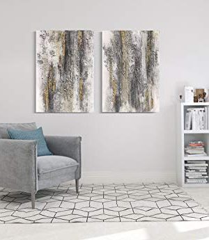 Yihui Arts Abstract Canvas Wall Art Pictures Thick Texture Grey With Gold Foil Paintings Hand Painted By Professional Artist For Dinning Room Decoration 0 5 300x345